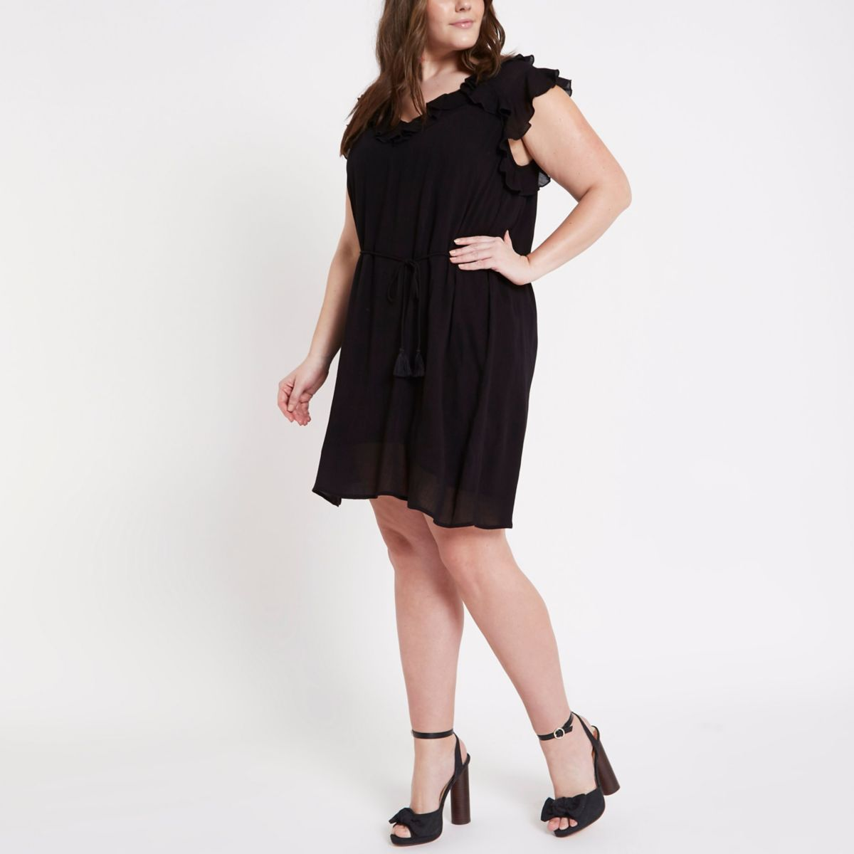 Plus black frill swing dress