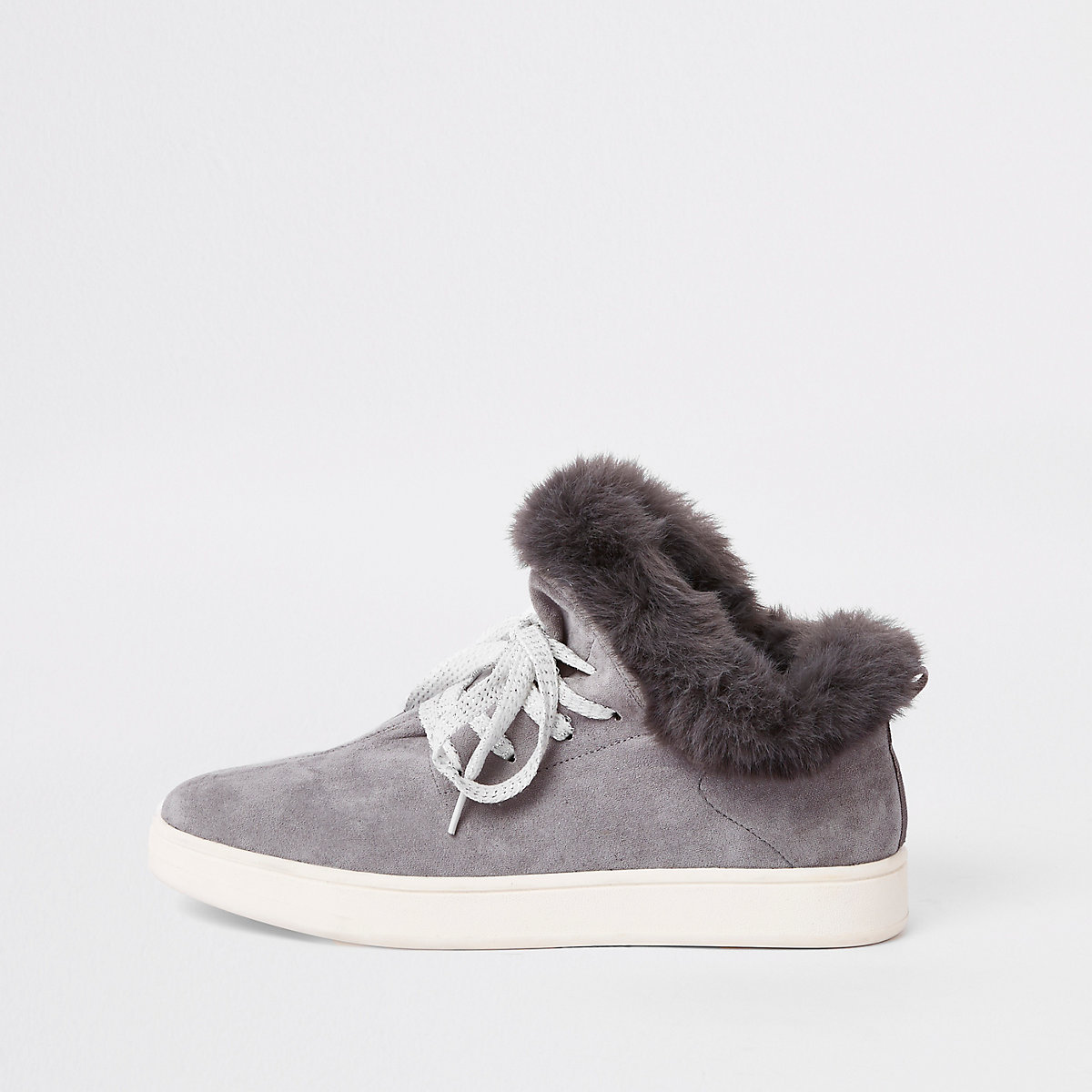 Light grey lace-up faux fur lined trainers