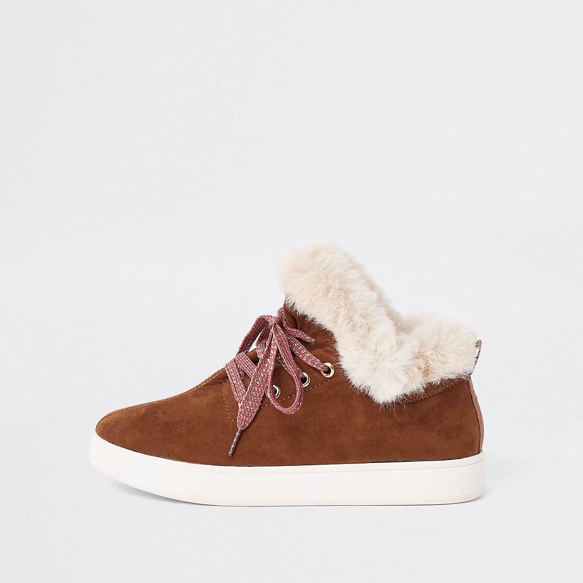 Brown lace-up faux fur lined trainers