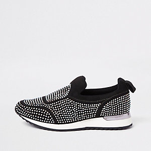 Black sequin heatseal sneakers