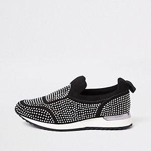 Zwarte sneakers met heatseal en lovertjes