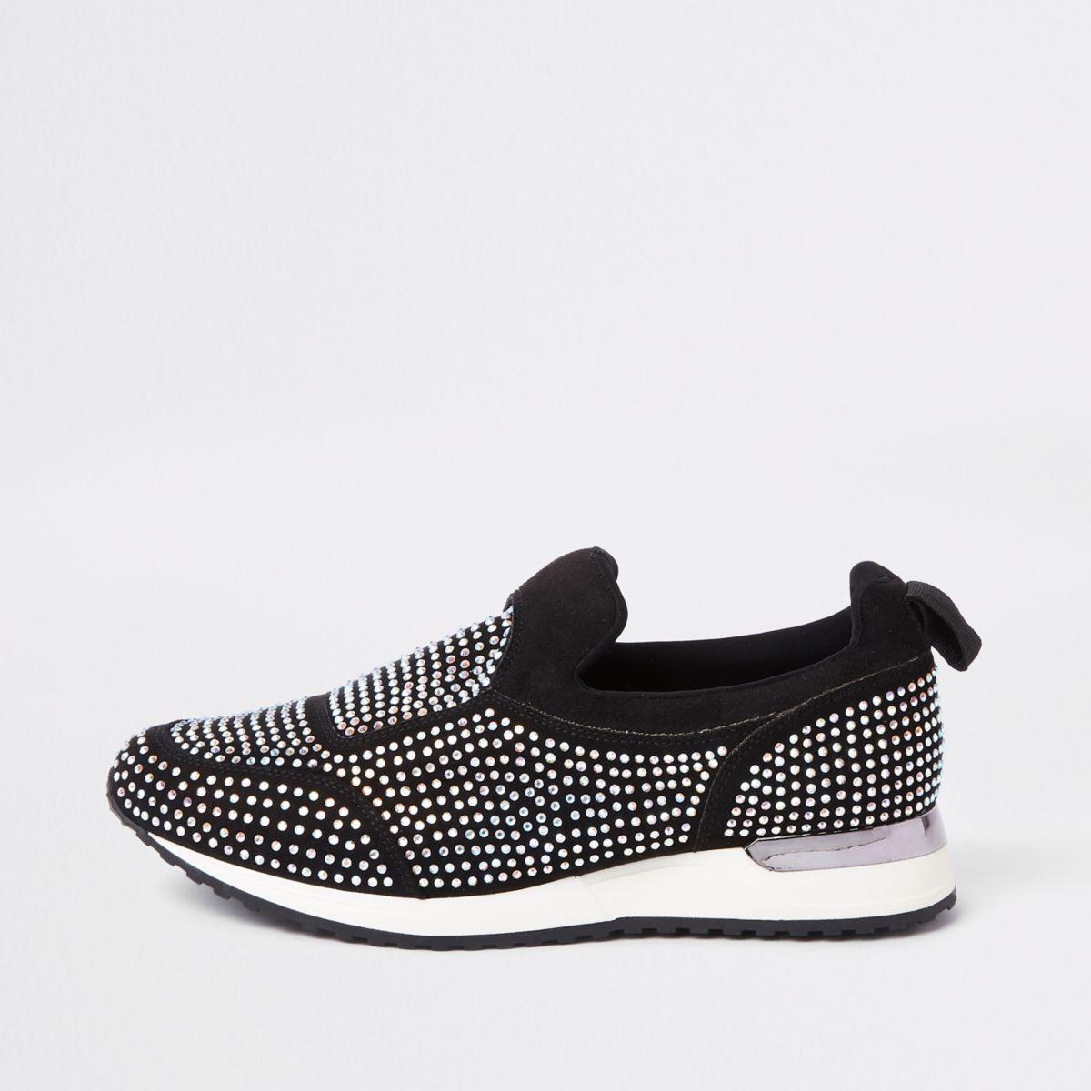Black sequin heatseal sneakers
