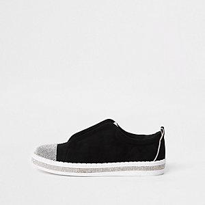 Baskets larges noires à strass