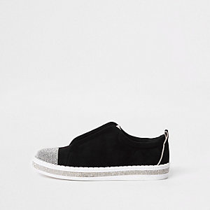 Zwarte sneakers met siersteentjes en brede pasvorm