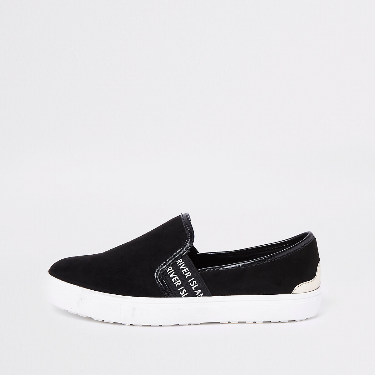 Black RI branded slip on plimsolls