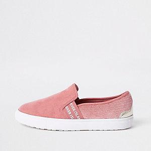 Pink RI branded slip on plimsolls