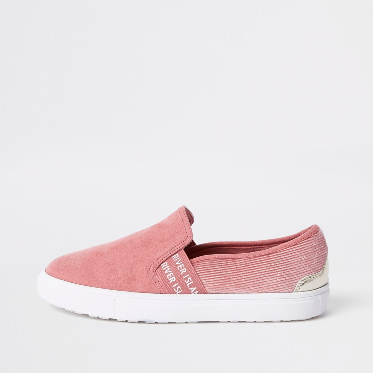 Pink RI branded slip on plimsolls