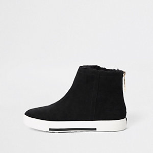 Black faux fur wide fit lined boots