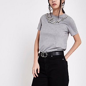 Grey 'believe' pearl embellished T-shirt