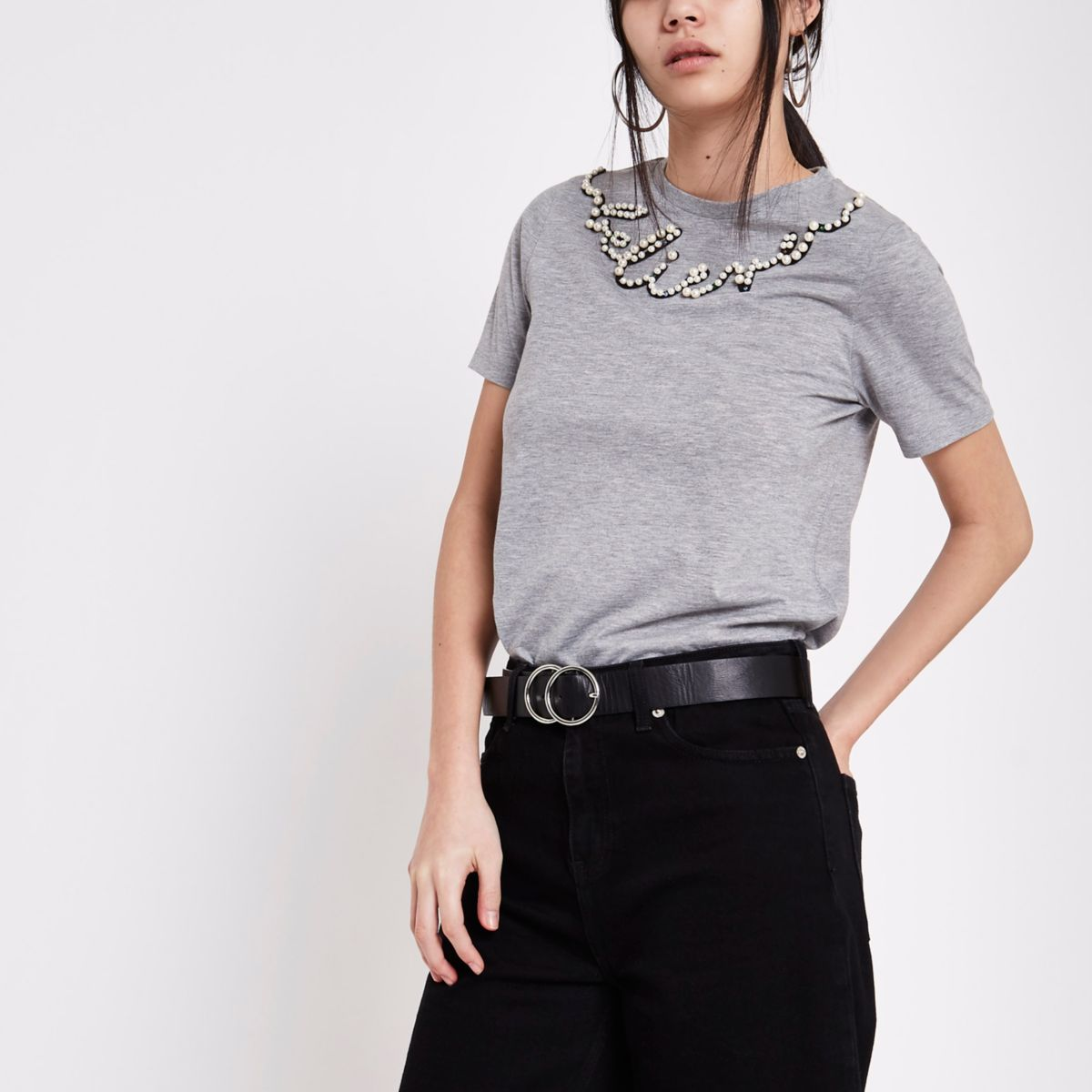 Grey pearl embellished T-shirt