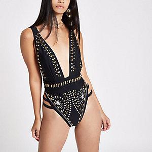 RI 30 black embellished plunge swimsuit