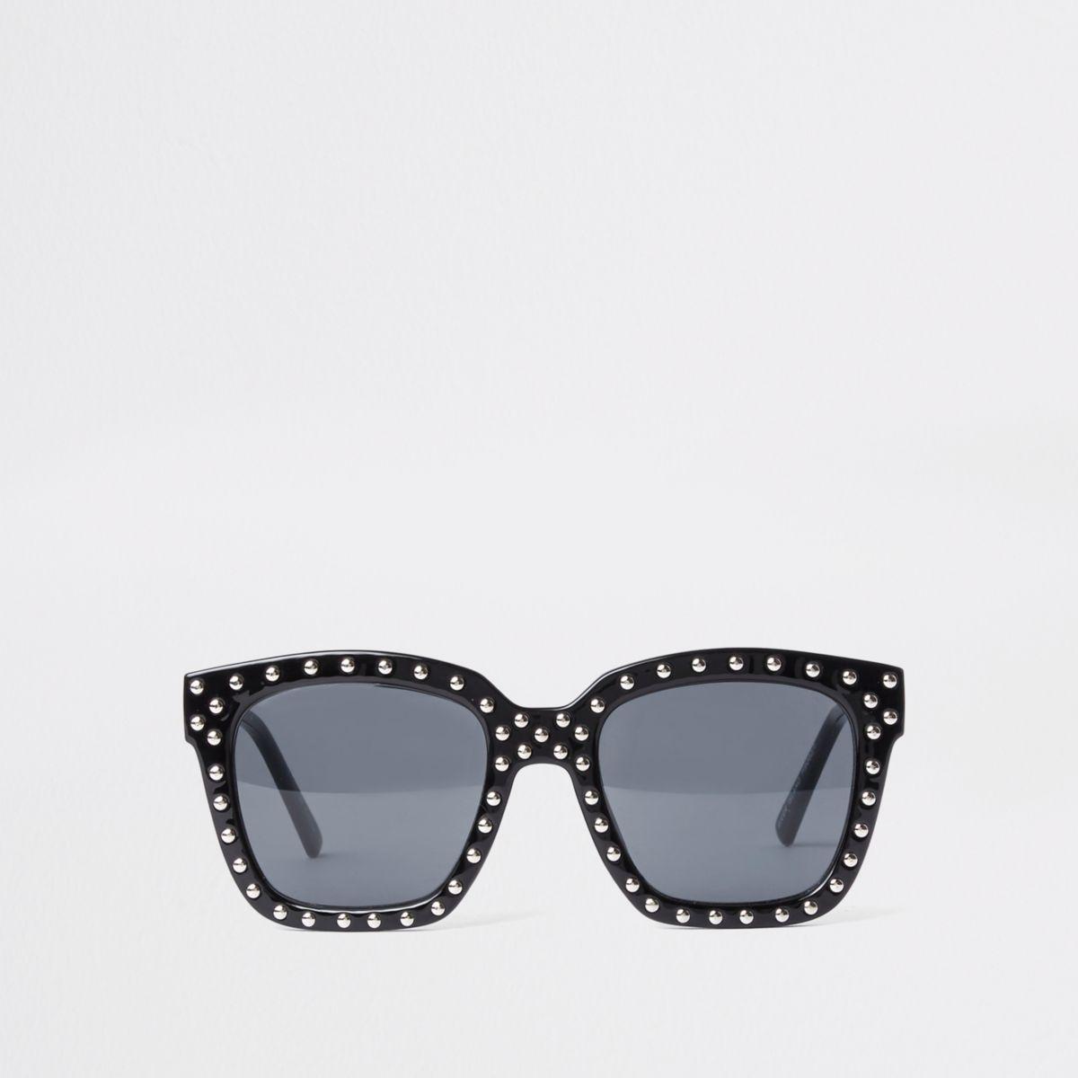 Zwarte oversized zonnebril met studs