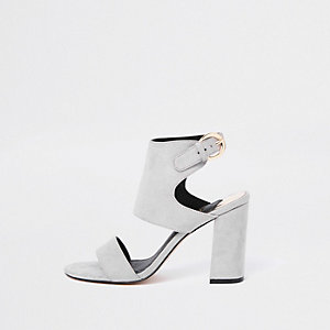 Grey faux suede block heel sandals