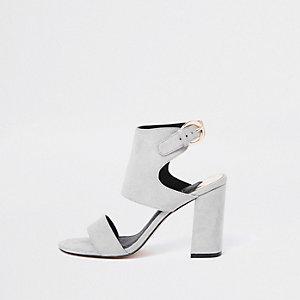 Grey faux suede block heel sandals