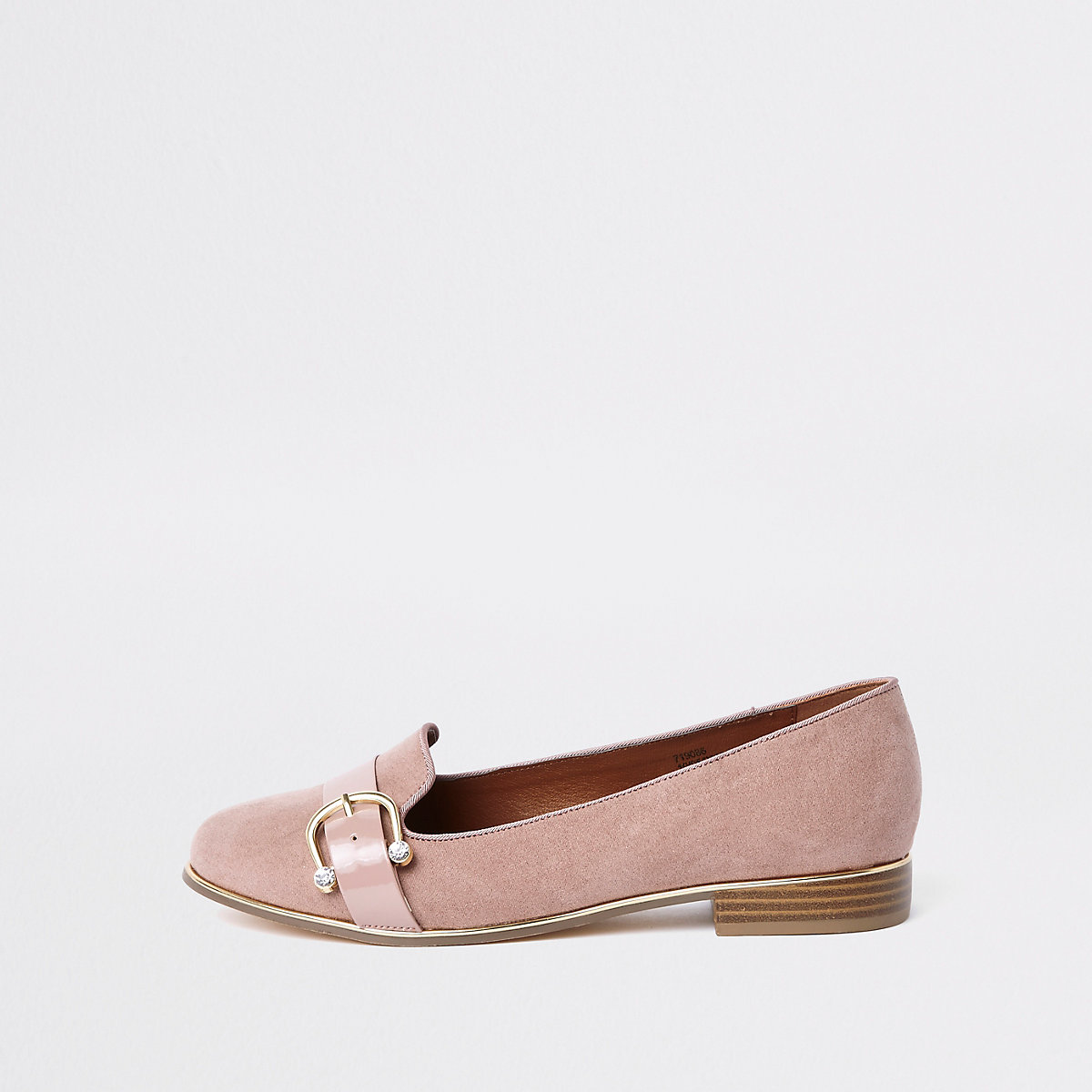 Beige wide fit diamante buckle ballet shoe