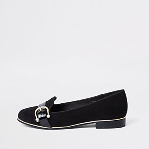 Black diamante buckle loafers