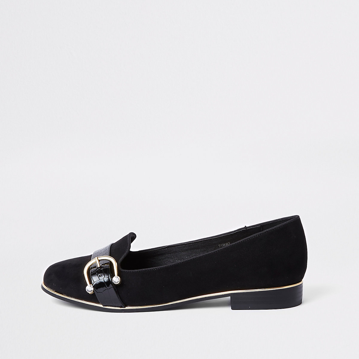 Black rhinestone buckle loafers