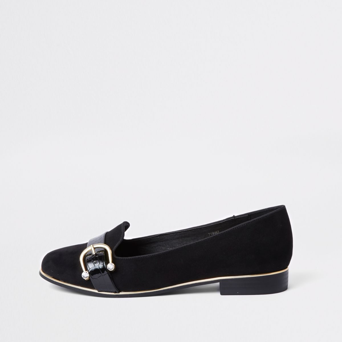 Black diamante buckle loafers