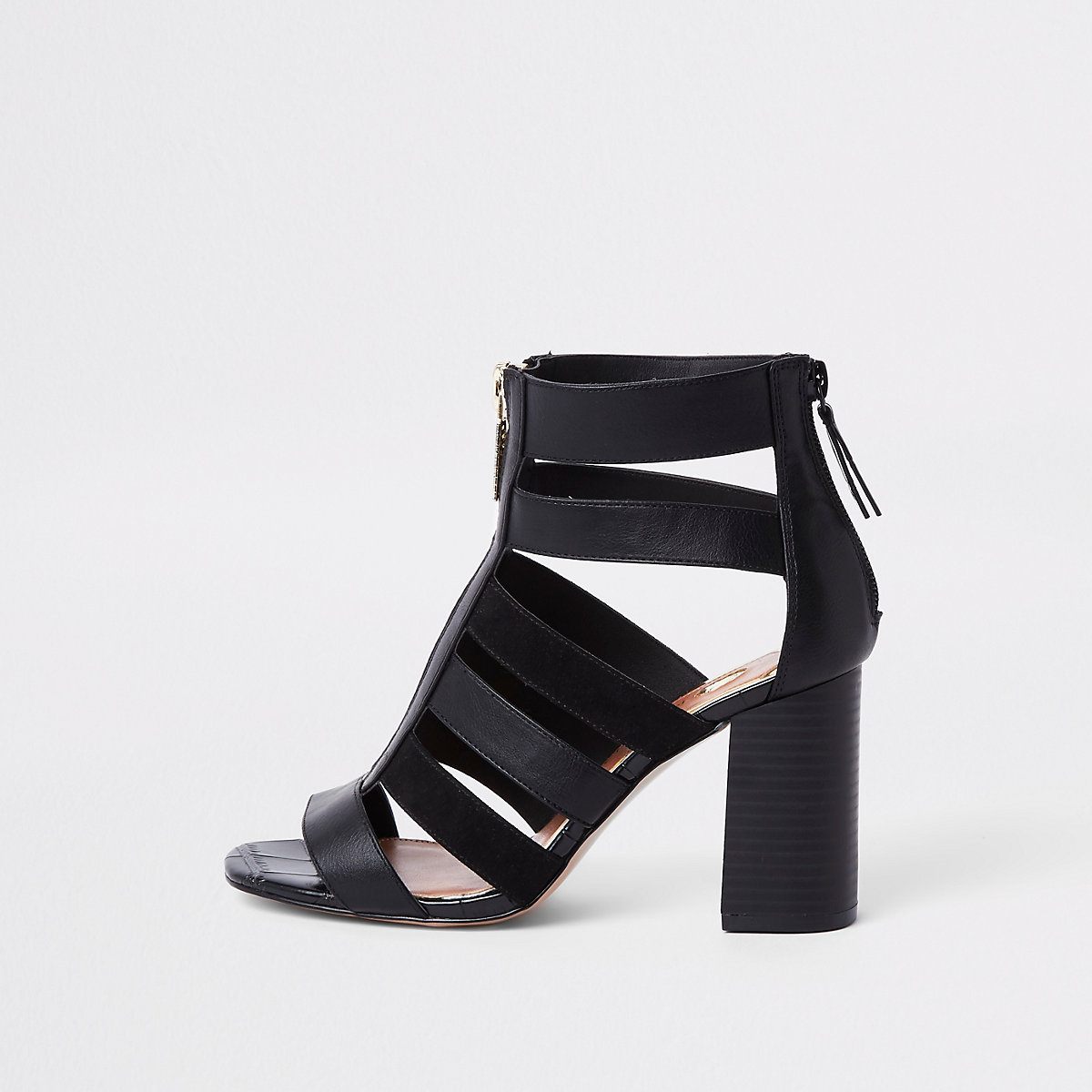 Black wide fit caged block heels