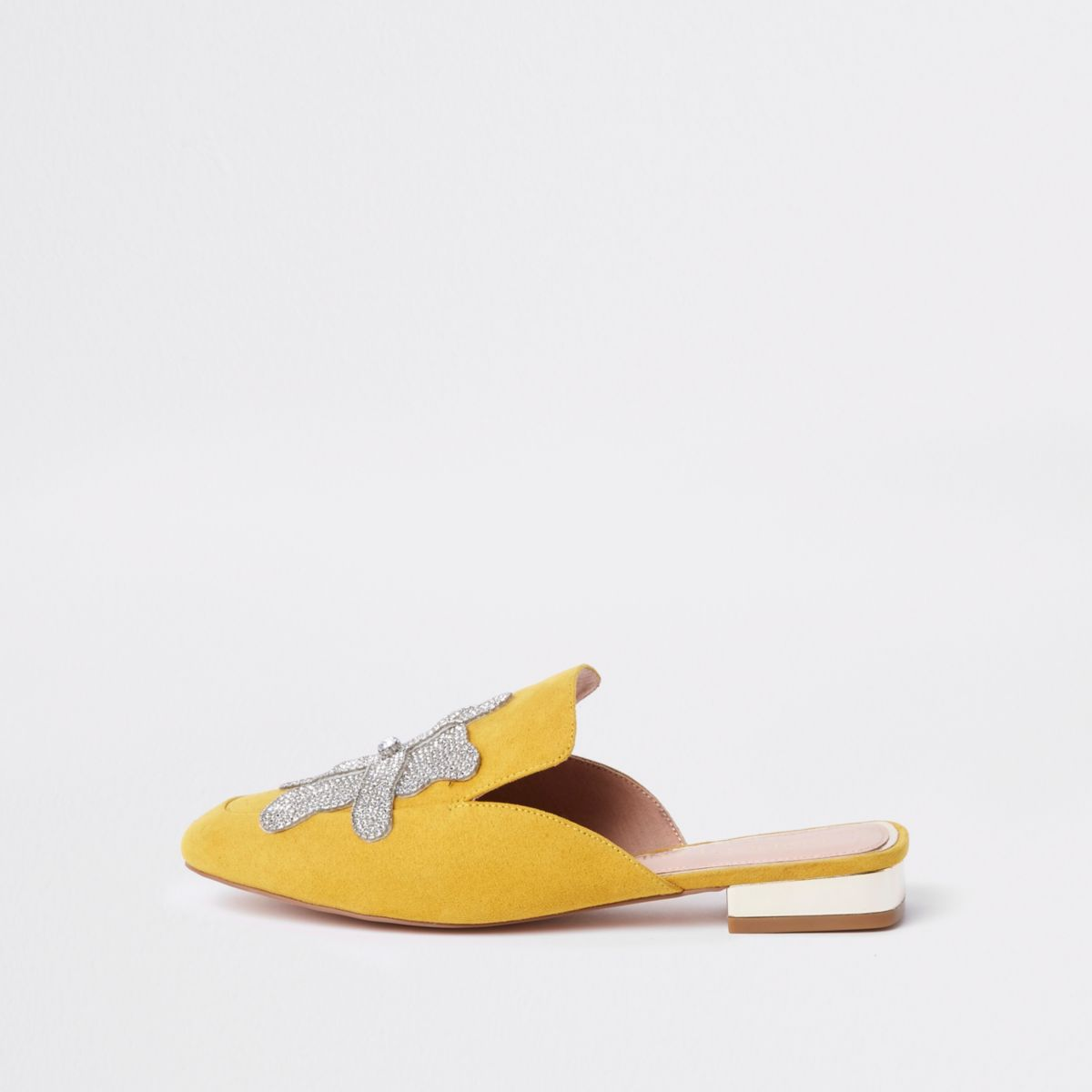 Yellow wide fit embellished backless loafers