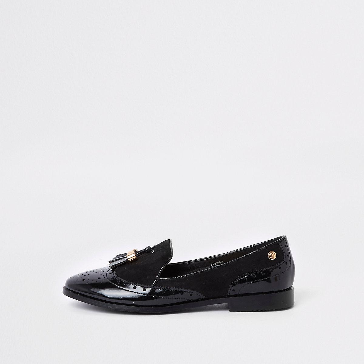 Black wide fit tassel patent shoes