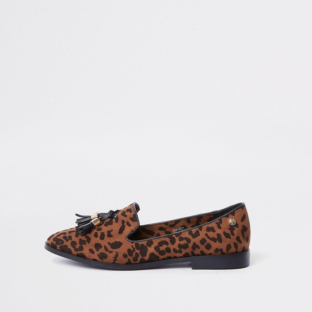 Brown wide fit leopard print tassel loafers