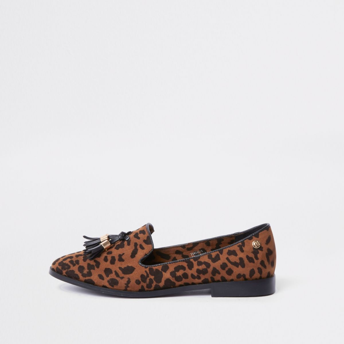 Brown wide fit leopard print tassel loafers