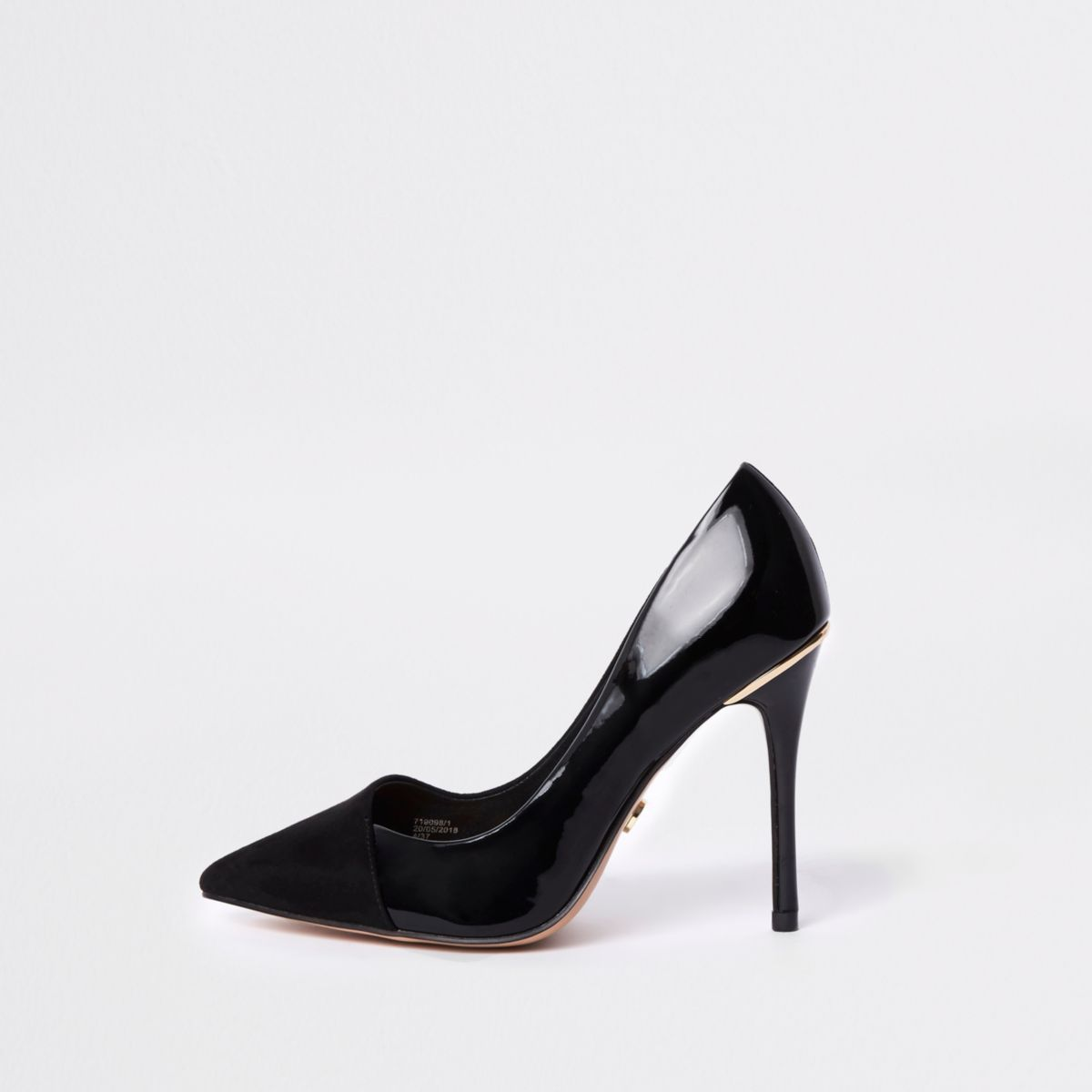 Black wide fit wrap around court shoes