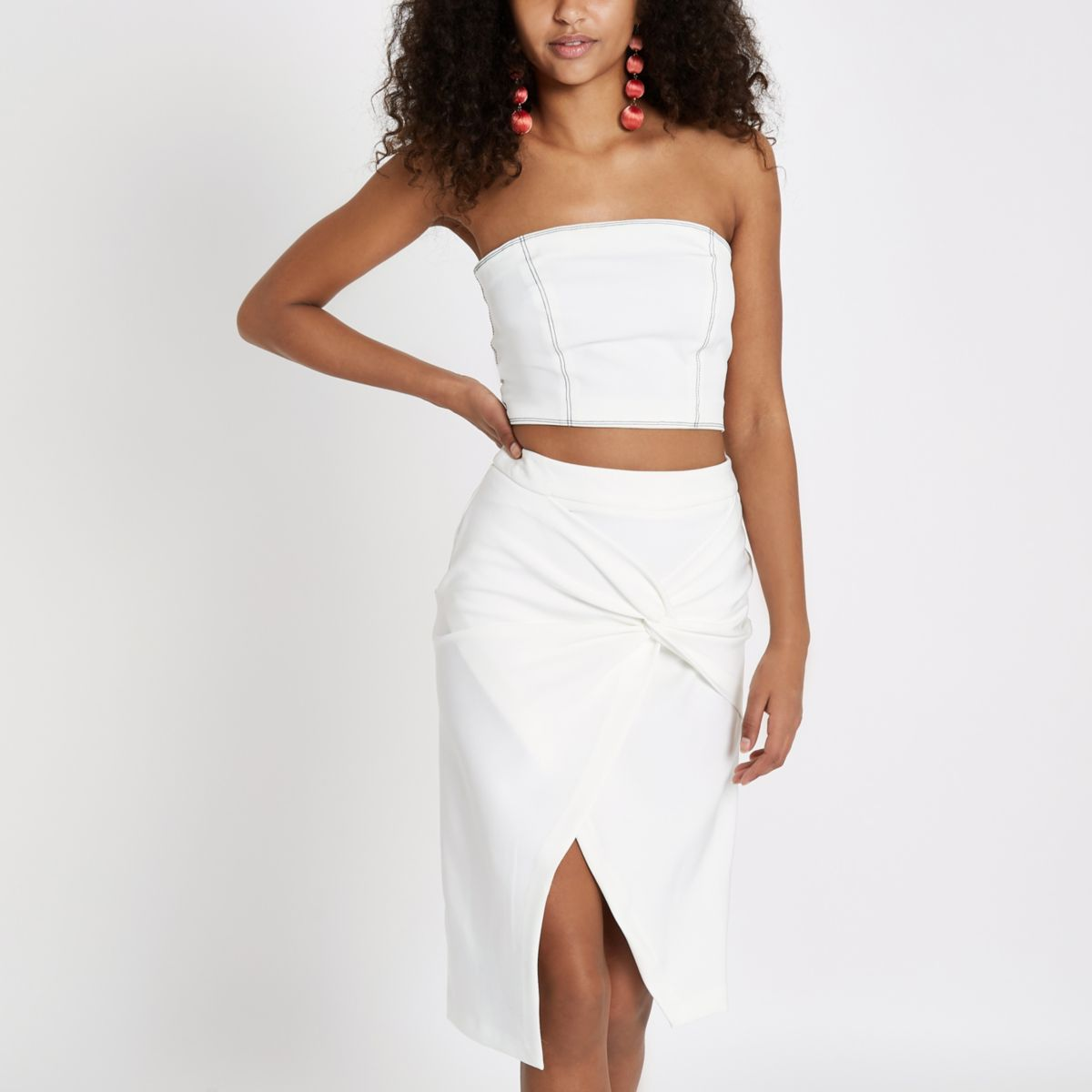 White twist front pencil skirt