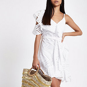Petite white broderie cold shoulder dress