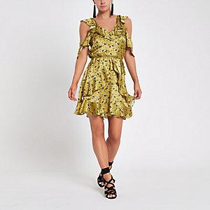 Petite – Robe portefeuille à fleurs jaune