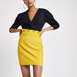 Yellow paperbag mini skirt