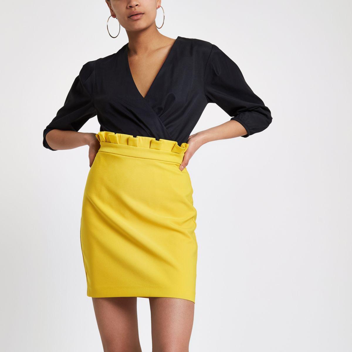 Yellow paperbag mini skirt
