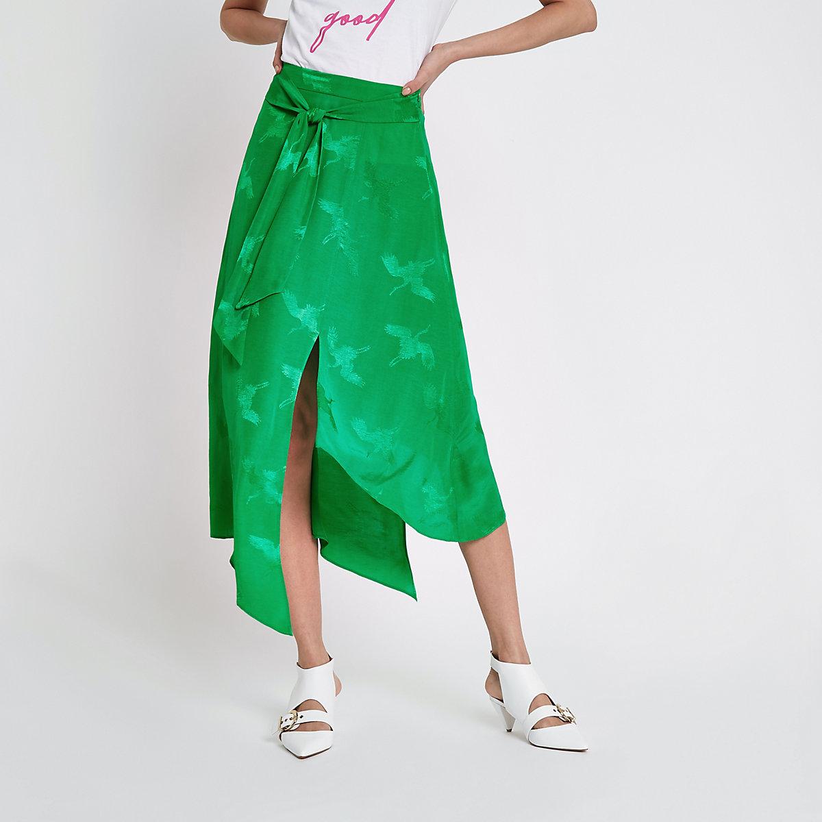 Green jacquard tie waist midi skirt