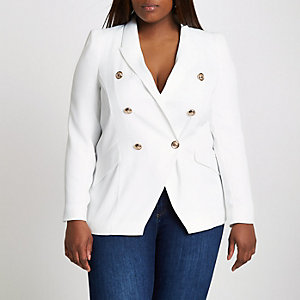 RI Plus - Witte double-breasted blazer