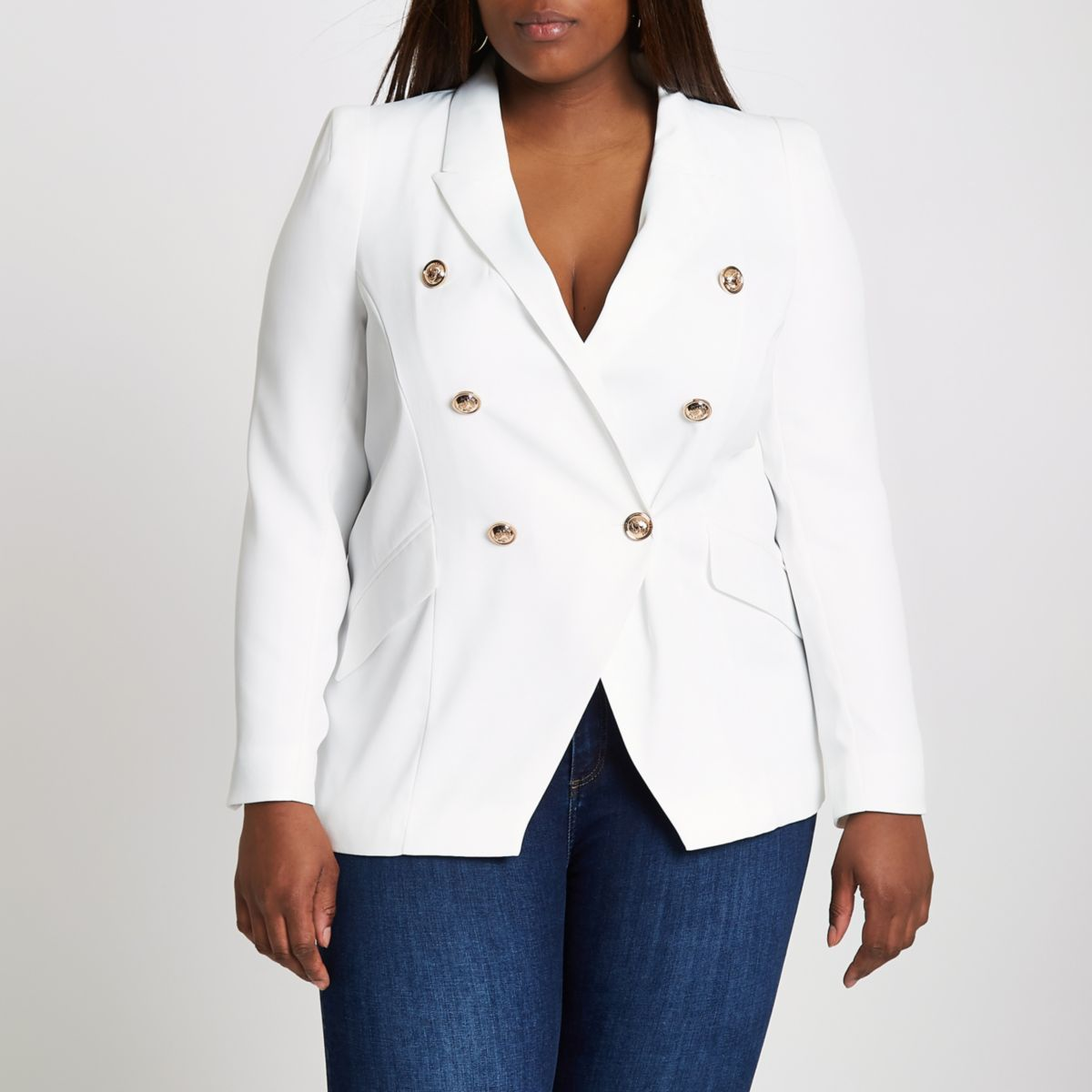 Plus White Double Breasted Blazer by River Island