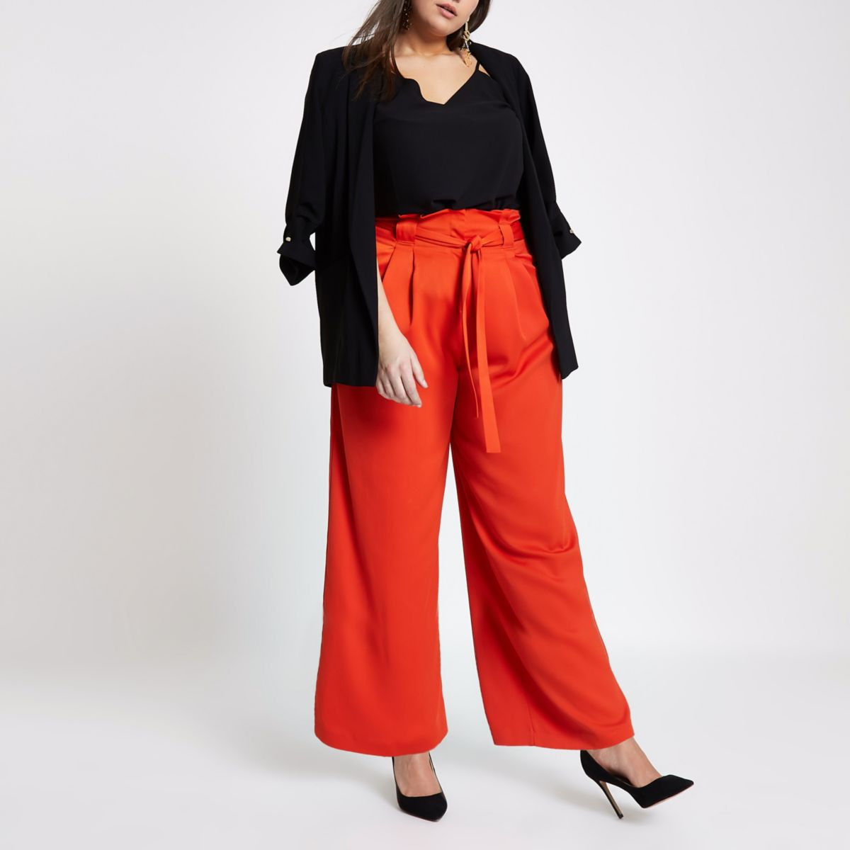 Plus red paperbag wide leg pants