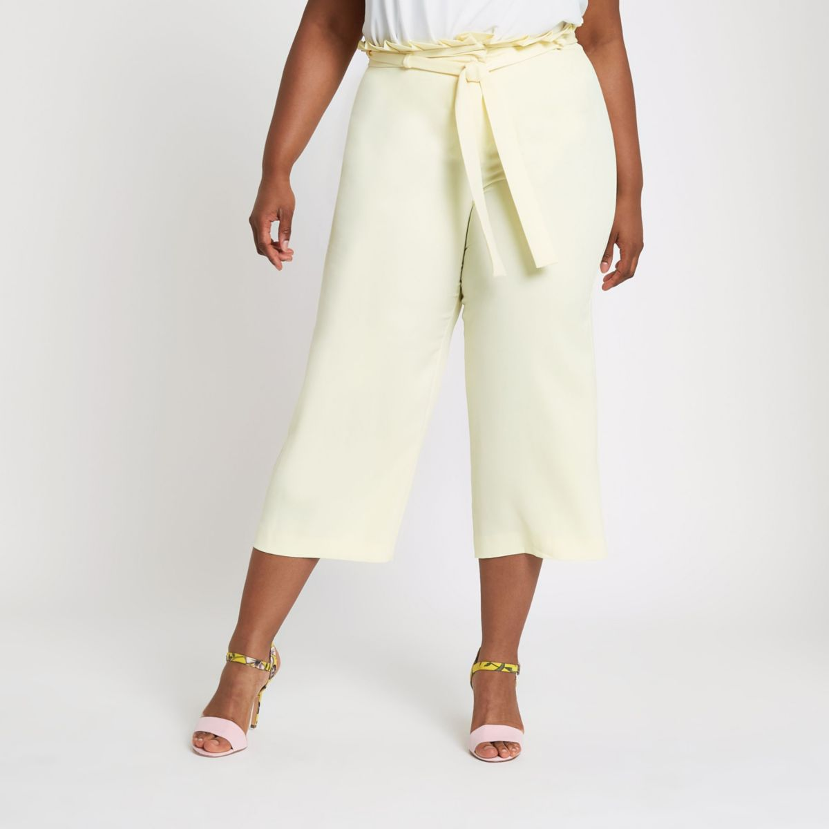 Plus yellow paperbag waist wide leg trousers