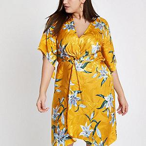 Plus – Robe kimono jaune à fleurs avec nœud sur le devant
