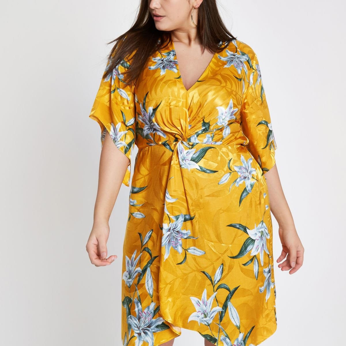 Plus yellow floral knot front kimono dress