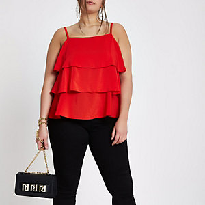 Plus tiered frill cami top