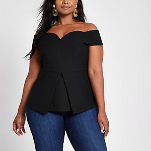 Plus black structured bardot top