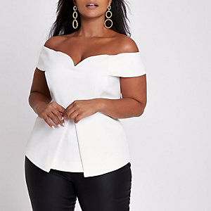 Plus white structured bardot top