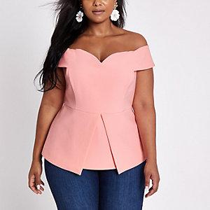 Plus pink structured bardot top
