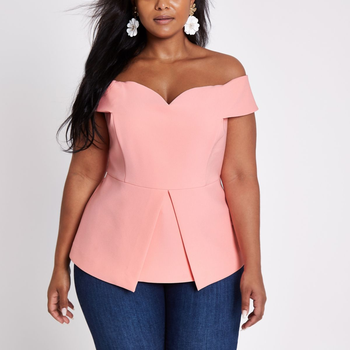 Plus pink structured bardot top