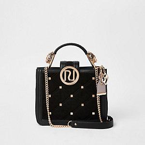 RI 30 black stud embellished quilted tote bag
