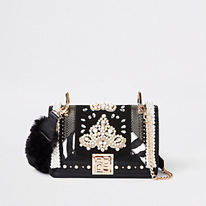 RI 30 black pearl embellished cross body bag
