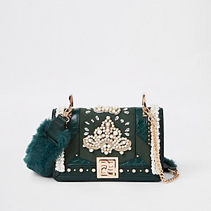RI 30 green pearl embellished cross body bag