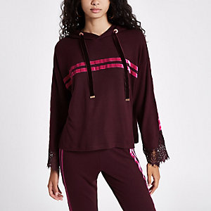 Red tape side lace sleeve hoodie
