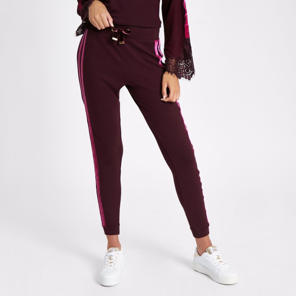 Red loungwear joggers